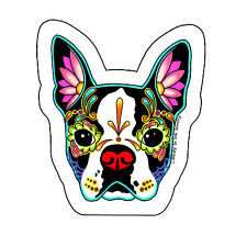 Day of the Dead Boston Terrier Sticker  Sugar Skull Dog Decal  Muertos Calavera