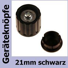 Potiknopf 6mm Achse DKG21-SW Drehknopf 21mm schwarz 853420 + Deckel 853421