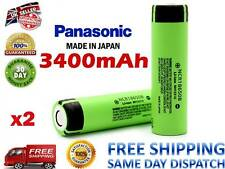 2 X GENUINE PANASONIC 3400mAh NCR 18650 B Li-ion 3.7V Reachargeable Battery Flat