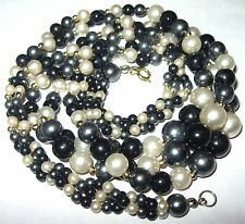 Pretty VINTAGE 1950's 3 Row Faux PEARL Graduated BEAD Costume Jewellery NECKLACE