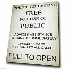 POLICE PHONE BOX SIGN Vintage METAL Wall Sign Door Plaque poster picture print