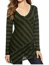 Sophie Max Studio Olive Green/Black Asymmetrical Striped Knit Jersey Top, XS $58