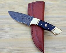 Damascus steel BLADE HUNTING KNIFE BUFFALO HORN HANDLE