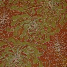 Japanese vintage kimono silk fabric Golden Chrysanthemum