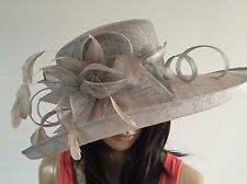 NEW LADIES SILVER GREY SINAMAY HAT WEDDING OCCASION FORMAL MOTHER OF THE BRIDE