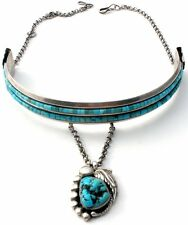 Navajo Sterling Silver Turquoise Collar Necklace Vintage Choker Signed B Jewelry