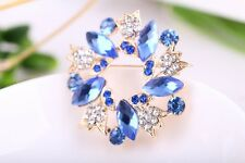 Light Blue Crystal Rhinestone Banquet Bridal Gold Plated Alloy Pins Brooch Gift