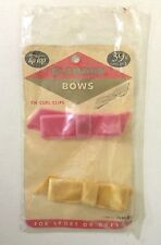 2 Vintage TIP TOP Glamour Velvet Hair Bows 1960s On Curl Clips Pink & Yellow