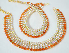 Designer Indian Gold Plated Stone Pearl  Anklet Payal Party Ethnic Jewelry Ser