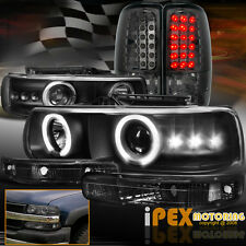 Chevy Suburban/Tahoe Halo Projector LED Black Headlight+Signals+Smoke Tail Light
