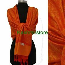 New Pashmina Paisley Floral Silk Wool Scarf Wrap Shawl Soft Orange/Red #01