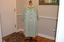 vintage stunning silky gold green chenille floral coat