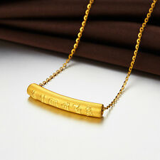 Real 999 24k Yellow Gold Pendant Lucky Carved Six-word Mantra Pendant 0.8-1.2g