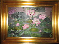 RARE  HAND STITCHED EMBROIDERED WATER LILY FLOWER WALL PICTURE,TAPASTRY