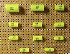 Antique Radio Axial Capacitor Assortment.  100 capacitors 10 Different Values.