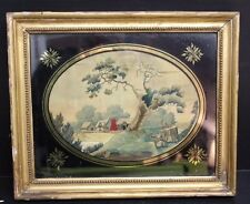 Antique Silk Embroidery Drawing Needlework Artwork Sampler of Farm - 1800's