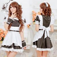 Schwarz Qualität 6 Stück Dienstmädchen Cosplay Kostüm, Party Uniform Gr. S-M