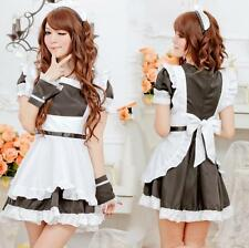 Black Quality 6 Pieces Maid Cosplay Fancy Dress, Party Uniform Costume, Size S-M