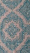 MANUEL CANOVAS 'SULTAN' FABRIC OFFCUT 128 X 76 cm 100% LINEN TURQUOISE / GREY