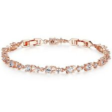 Wearyourfashion 18K Rose Gold Plated Austrian Crystal Sequence Leaf Bracelet