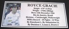 "MMA ROYCE GRACIE Champion Silver Photo Plaque ""FREE POSTAGE"""