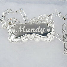 PERSONALIZED STERLING SILVER ANY NAME PLATE NECKLACE BRUSH SCRIPT * US SELLER