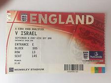 USATO EURO 2008 QUALIFIER England V ISRAELE BIGLIETTO 8th SETTEMBRE 2007 a Wembley