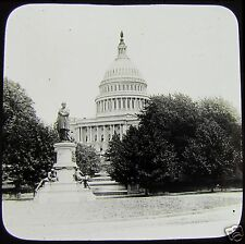 Glass Magic Lantern Slide STATUE OF GARFIELD & CAPITOL WASHINGTON C1910 USA