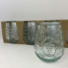 NEW! SET of 4 SAN MIGUEL AUTHENTIC RECYCLED GLASS STEMLESS WINE GLASSES