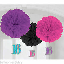 3 Classic Sweet 16 16th Birthday Party Hanging Fluffy Paper Ball Decorations