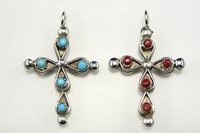 Native American Zuni Sterling Silver Turquoise & Coral Reversible Cross Pendant