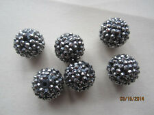 Black and Silver Hematite Resin Pave Rhinestone Beads 20mm 8pc
