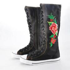 Lady Canvas Flat Sneakers Lace Up Knee High Embroidery Flower Boots