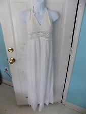 dani Collections White Crochet Among The Clouds Maxi Halter Dress Size M NEW