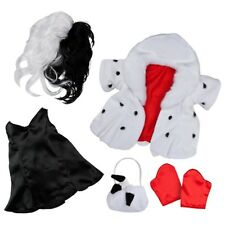 Build a Bear Disney's Cruella DeVille Costume 5 pc.Coat Wig Dress Purse Gloves