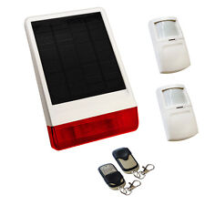 Solar siren wireless house burglar intruder alarm - 2 X PIR 2 X KEY FOB