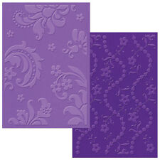 Sizzix Textured A6 Embossing Folders Damask & Beaded Floral Stripe
