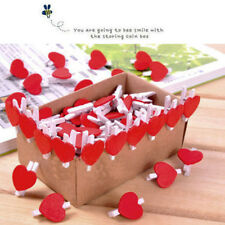 20x Stylish Wooden Red Love Heart Pegs Photo Paper Clips Wedding Decor Craft Pop