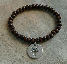 Mens/Womens Wood Beaded Surfer Bracelet Silver Stag Deer Head Disc Coin Charm