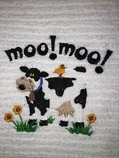 Embroidered Kitchen Bar Hand Towel- BS0144- MOO MOO COW