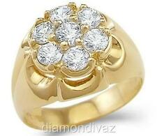 1.75 CT 10K SOLID YELLOW GOLD MENS ROUND CUT DIAMOND RING WEDDING PINKY PRONG
