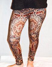 Ladies/Womens Brown and Burgundy Paisley Patterned Leggings