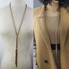 Women Vintage Gold Plated Tassel Pendant Rhinestone Long Chain Sweater Necklace