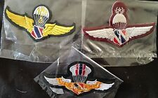 OBSOLETE UNISSUED ROYAL THAI POLICE PARACHUTE FREE FALL HALO SENIOR WINGS BADGES