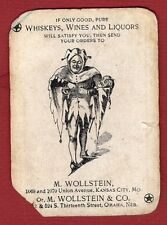1 Single Swap Playing Card JOKER G44 JESTER M WOLLSTEIN OMAHA WHISKY AD ANTIQUE