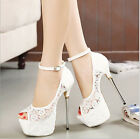 Sexy Hollow out  Ankle strap Stilettos High Heels Peep Toe Shoes Womens Sandals