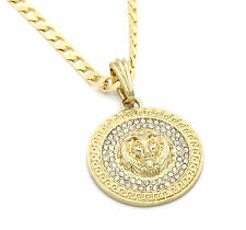 """Mens Medallion Patern Lion Gold Plated 24"""" Cuban Curb Chain Pendant Necklace"""