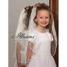 Illusions Ribbon Trim Ivory Communion/Flowergirl Veil M-251-1R