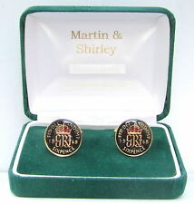 1948 Sixpence cufflinks from real coins in Black & Gold