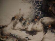 PEINTURE IMPRESSIONNISTE  PLAT PORCELAINE DE LIMOGES gardienne d'oies Balleroy